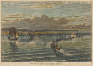 "Brown: Montvideo, Uraguay. 1885. A hand coloured original antique wood engraving. 7"" x 5"". [SAMp1146]"