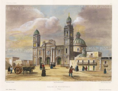 View of the Iglesia Matriz, the oldest church in Montevideo. After Barthélemy Lauvergne, artist on the voyage of La Bonite 1836-7.