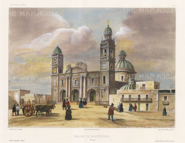 Montevideo: View of the Iglesia Matriz, the oldest church in Montevideo. After Barthélemy Lauvergne, artist on the voyage of La Bonite 1836-7.