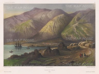 Cobija: View along the Pacific Coast. After Jean Touchard, artist on the voyage of La Bonite 1836-7.