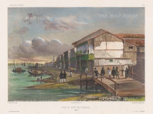 View of buildings in the port on the Guayas River. After Barthélemy Lauvergne, artist on the voyage of La Bonite 1836-7.