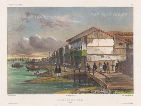 Santiago de Guayaquil: View of buildings in the port on the Guayas River. After Barthélemy Lauvergne, artist on the voyage of La Bonite 1836-7.