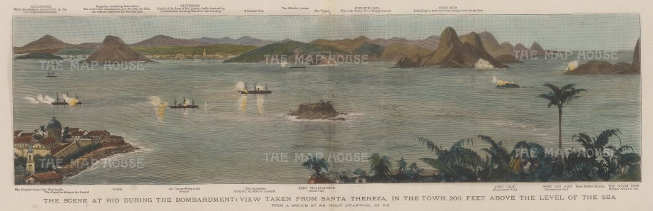 Rio de Janeiro: Panorama from Santa Thereza with key during the War of Canudos.