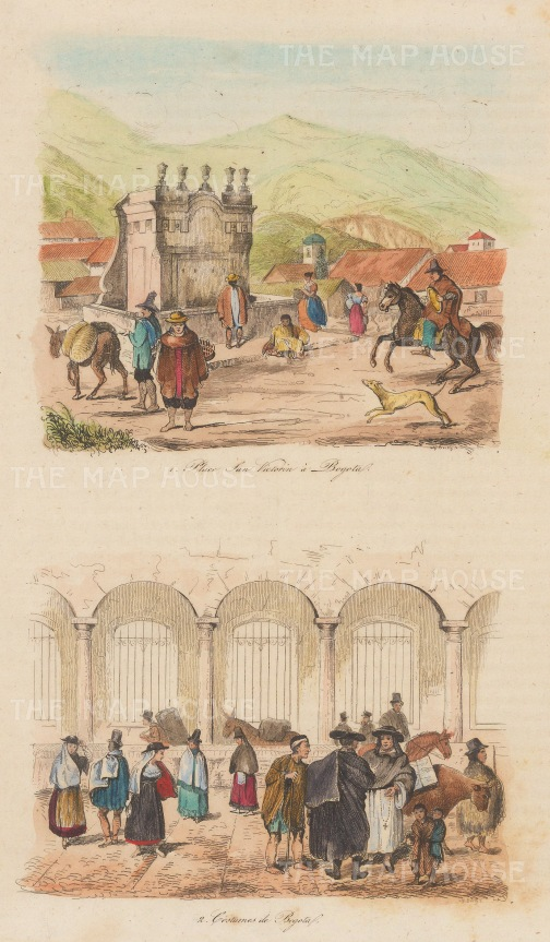 "Anonymous. Bogota, Columbia. c1850. A hand coloured original antique steel engraving. 4"" x 6"". [SAMp1405]"