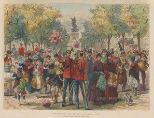 "Illustrated London News: Santiago, Chile. 1890. A hand coloured original antique wood engraving. 12"" x 9"". [SAMp1428"