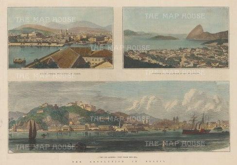 """Illustrated London News: Rio de Janeiro. 1889. A hand coloured original antique wood engraving. 13"""" x 9"""". [SAMp1429]"""