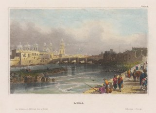 "Meyer: Lima, Peru. 1841. A hand coloured original antique steel engraving. 6"" x 5"". [SAMp1436]"