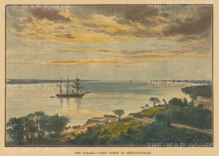 "Reclus: The Parana, Paraguay. 1894. A hand coloured original antique wood engraving. 7"" x 5"". [SAMp604]"