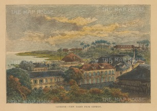 "Reclus: Cayenne, Guiana. 1894. A hand coloured original antique wood engraving. 8"" x 5"". [SAMp640]"