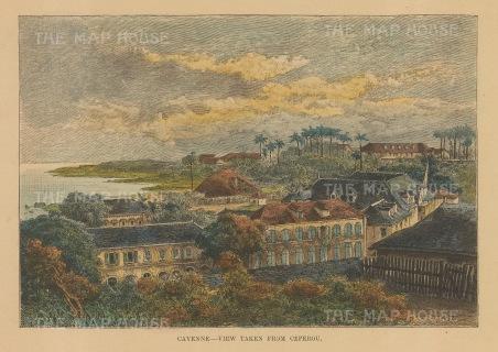 "Reclus: Cayenne, Guiana. 1894. A hand coloured original antique wood engraving. 8"" x 5"". [SAMp640]"