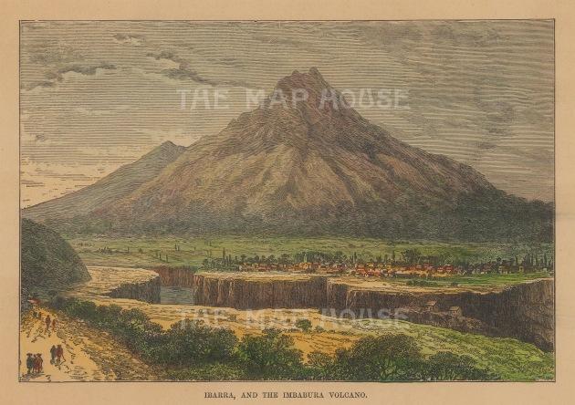 "Reclus: Ibarra and the Imbabura volcano, Ecuador. 1894. A hand coloured original antique wood engraving. 7"" x 5"". [SAMp676]"