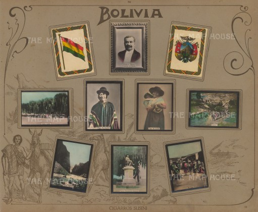 "rros Suisini: Bolivia. 1914. An original antique mixed method engraving. 13"" x 11"". [SAMp993]"