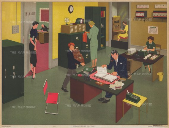 Office and Working Day: General Service Wall pictures educational series of daily life in Britain after Elizabeth Skilton.
