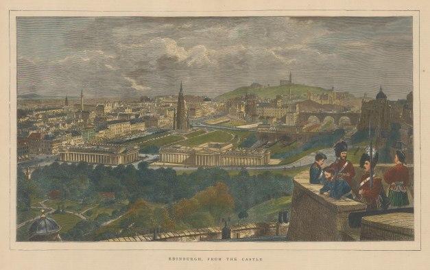 "Graphic Magazine: Edinburgh. 1871. A hand coloured original antique wood engraving. 20"" x 12"". [SCOTp1284]"
