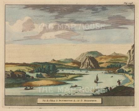 "Van der Aa: Sunbarton Castle. 1727. A hand coloured original antique copper engraving. 7"" x 5"". [SCOTp1675]"