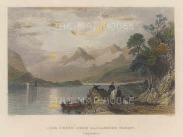 "Allom: Loch Leven. 1836. A hand coloured original antique steel engraving. 8"" x 6"". [SCOTp1696]"