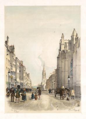 """Swarbreck: High Street, Edinburgh. 1837. A hand coloured original antique lithograph. 16"""" x 12"""". [SCOTp826]"""