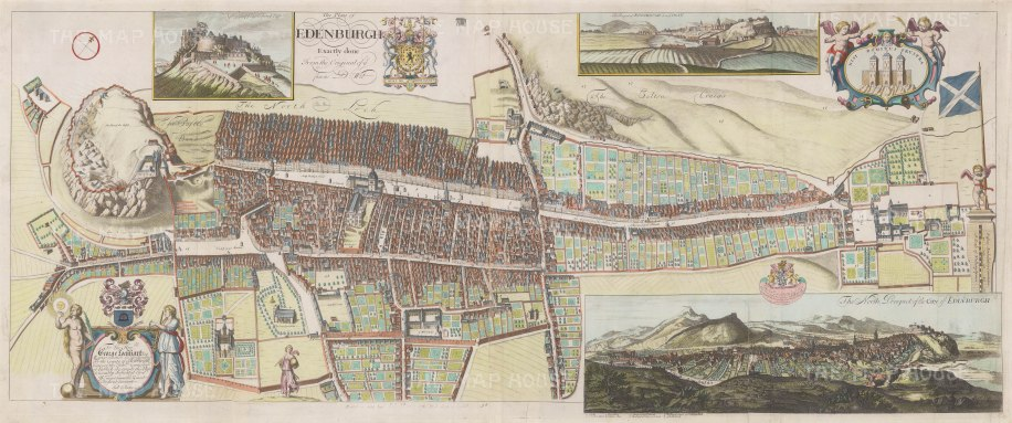 Plan and 3 views: After James Gordon of Rothiemay's 1647 plan, originally engraved by Frederich de Wit. Gordon was son of geographer Robert Gordon of Straloch who surveyed the city in 1646-1674.