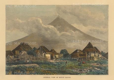 "Reclus: Mount Mayon. 1894. A hand coloured original antique wood engraving. 8"" x 6"". [SEASp1675]"