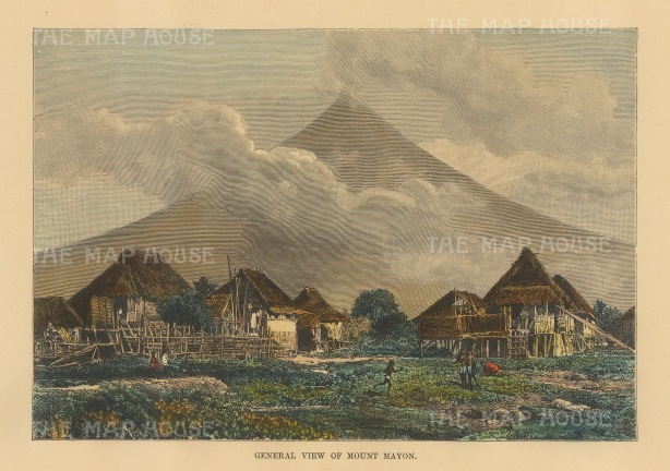 "Reclus: Mount Mayon. 1894. A hand coloured original antique wood engraving. 8"" x 6"". [SEASp1675]"