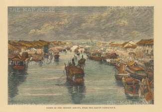 Saigon (Ho Chi Min City): Scene on the Chinese Arroyo (Ben Nghe) near to Point des Blageuers.