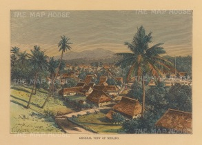 "Reclus: Manado, Sulawesi. 1894. A hand coloured original antique wood engraving. 8"" x 6"". [SEASp1680]"