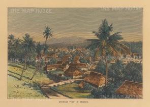 "Reclus: Manado, Sulawesi. 1894. A hand coloured original antique wood engraving. 8"" x 6"". [SEASp1680]"