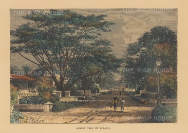 "Reclus: Jakarta, Java. 1894. A hand coloured original antique wood engraving. 8"" x 6"". [SEASp1682]"