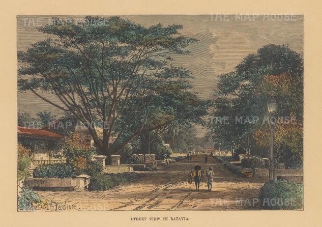 "Reclus: Jakarta, Java. 1894. A hand coloured original antique wood engraving. 8"" x 6"". [SEASp1682]"