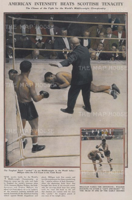 "Graphic Magazine: Boxing.1927. A hand coloured original antique wood engraving. 9"" x 14"". [SPORTSp2797]"
