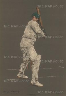 """Spottiswoode: J. Darling, Captain of Australia. 1905. An original antique chromolithograph. 10"""" x 15"""". [SPORTSp3335]"""