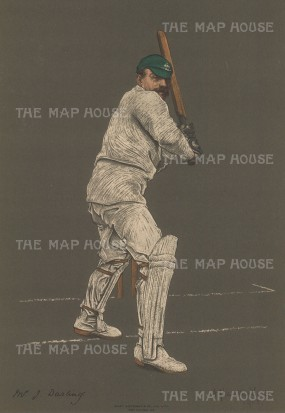 "Spottiswoode: J. Darling, Captain of Australia. 1905. An original antique chromolithograph. 10"" x 15"". [SPORTSp3335]"
