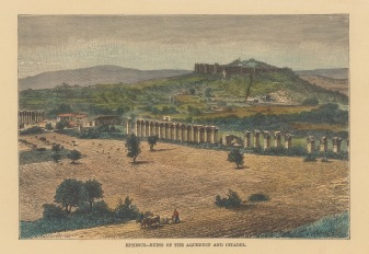 "Reclus: Ephesus. 1894. A hand coloured original antique wood engraving. 8"" x 6"". [TKYp132]"