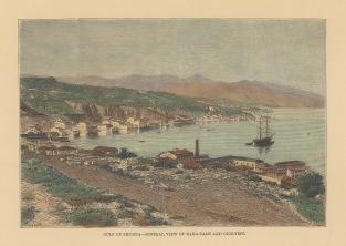 "Reclus: Izmir. 1894. A hand coloured original antique wood engraving. 8"" x 6"". [TKYp1328]"