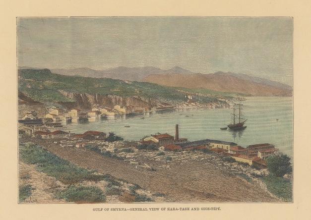 """Reclus: Smyrna (Izmir). 1894. A hand coloured original antique wood engraving. 8"""" x 6"""". [TKYp132]"""