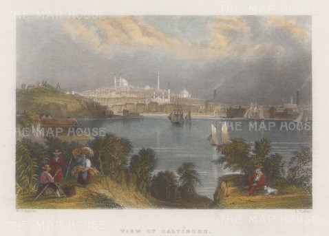 "Bartlett: Baltimore, Maryland. c1840. A hand coloured original antique steel engraving. 8"" x 6"". [USAp4103]"