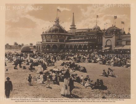 Santa Cruz Beach Boardwalk: View of the Casino and Natatorium, a heated covered pool.