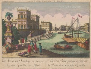 Genoa: Piazza di Pellicceria. View of Palazzo di Spinolla and its landing stage..