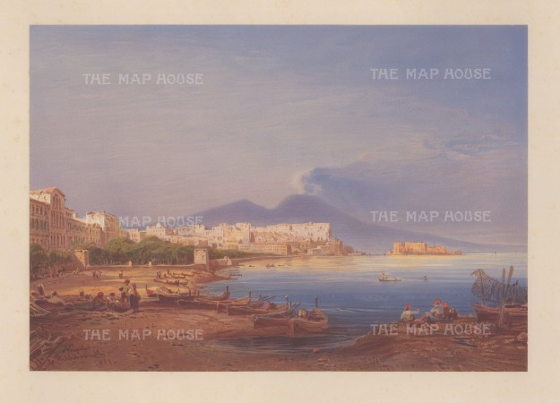 Panorama from the Bay of Naples: Looking towards the city with Mount Vesuvius in the distance. From Hildebrandt's 'Round the World' voyage.