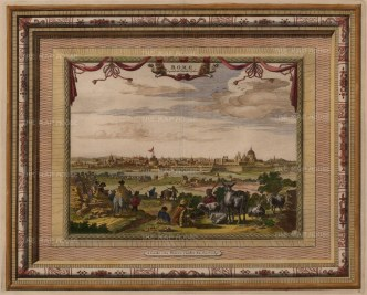 Panoramic view over the Tiber from Janiculum Hill or the Giancolo: With ornate title, festoons and wide decorative border.
