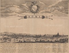Rare: Panorama of Rome from the Basilica di Santa Maria Maggiore to St Peter's Cathedral. With a key to principal buildings and a poem in Latin, Dutch and French to the 'ornament of Europe'.