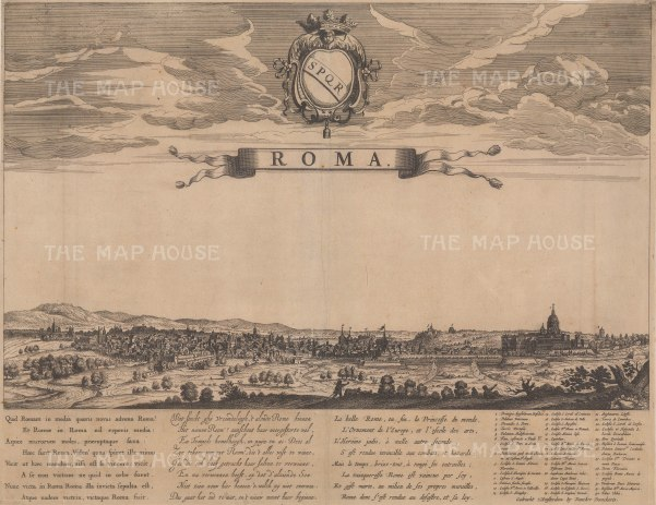 Rare Panorama of Rome from the Basilica di Santa Maria Maggiore to St Peter's Cathedral. With a key to principal buildings and a poem in Latin, Dutch and French to the 'ornament of Europe'.