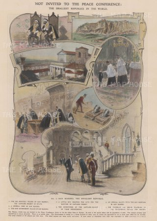 Scenes of San Marino: Views of the new Government Palace and Captain-Regent rulers:
