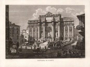 "Cottafavi: Trevi Fountain, Rome. c1873. An original antique etching. 11"" x 8"". [ITp2033]"