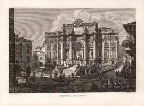 Trevi Fountain: View of the fountain and Piazza.