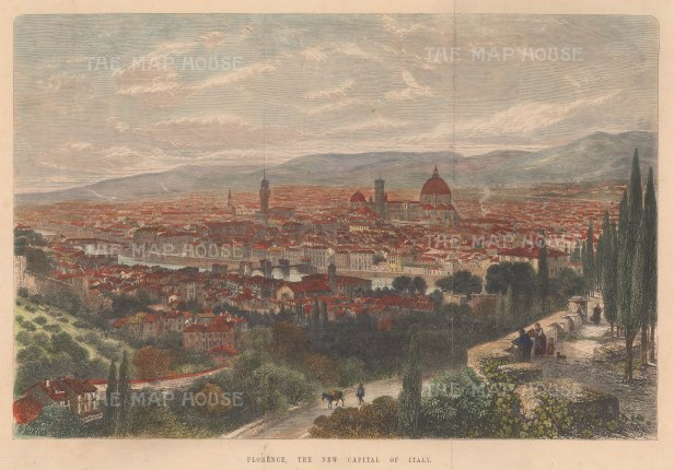 Panorama of Forence: Following the annexation of Tuscany into the Kingdom of Italy, Florence became the capital until 1870 when it was replaced by Rome.