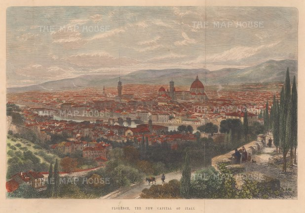 Panorama of Florence: Following the annexation of Tuscany into the Kingdom of Italy, Florence became the capital until 1870 when it was replaced by Rome.