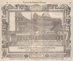 Verona: Early view of the Ampitheatre from over the Adige river with decorative border