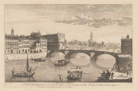Ponte Sta Trinita: Panorama from Palazzo Capponi. After Giuseppe Zocchi.