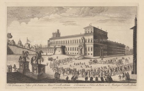 Quirinal Hill: Palazzo del Quirinal seen from the Piazza with the statues of Castor and Pollux. The obelisk now erected between them had yet to be found at the Tomb of Augustus. After Giovanni Falda.